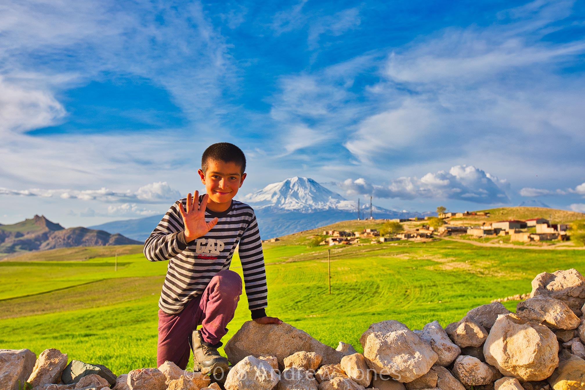 Local boy at Üzengili village near Doğubayazıt is a district of Ağrı Province, east Turkey. Nuh'un Gemisi. Noah's ark.
